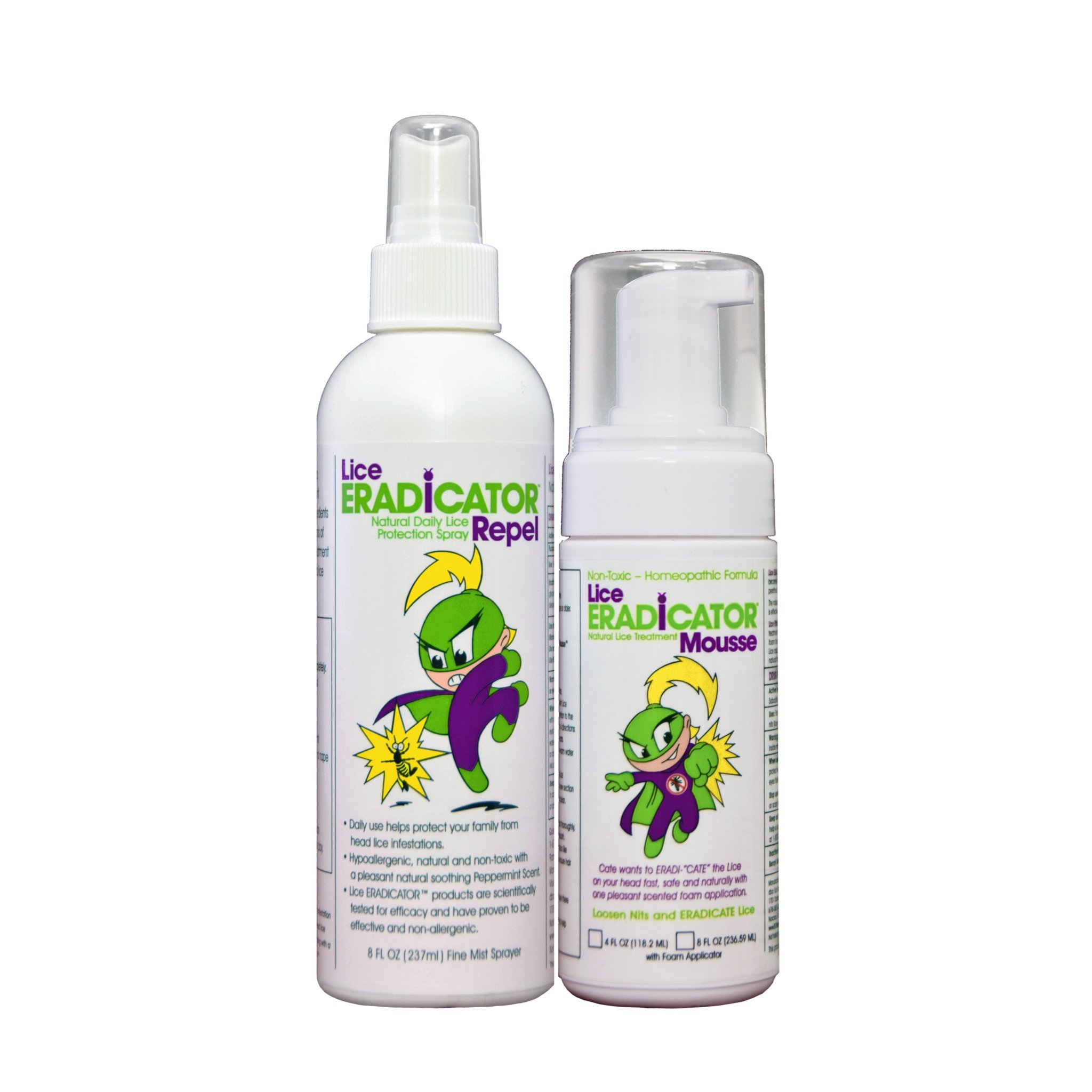 Lice ERADICATOR Foam MOUSSE Treatment and REPEL Protection Spray Set / Natural, Non-Toxic, Homeopathic Peppermint Formula / 4 Ounce Foam Applicator Spray and 8 Ounce Repellent Spray (2 Pack Combo Kit)