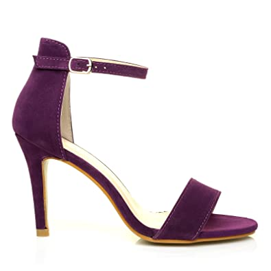 bf44e38ba2 ShuWish UK PAM Purple Suede Ankle Strap Barely There High Heel ...