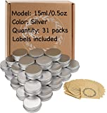 31pcs 0.5oz/15ml Sliver Aluminum Tin Jar with Screw Lid and Blank Labels