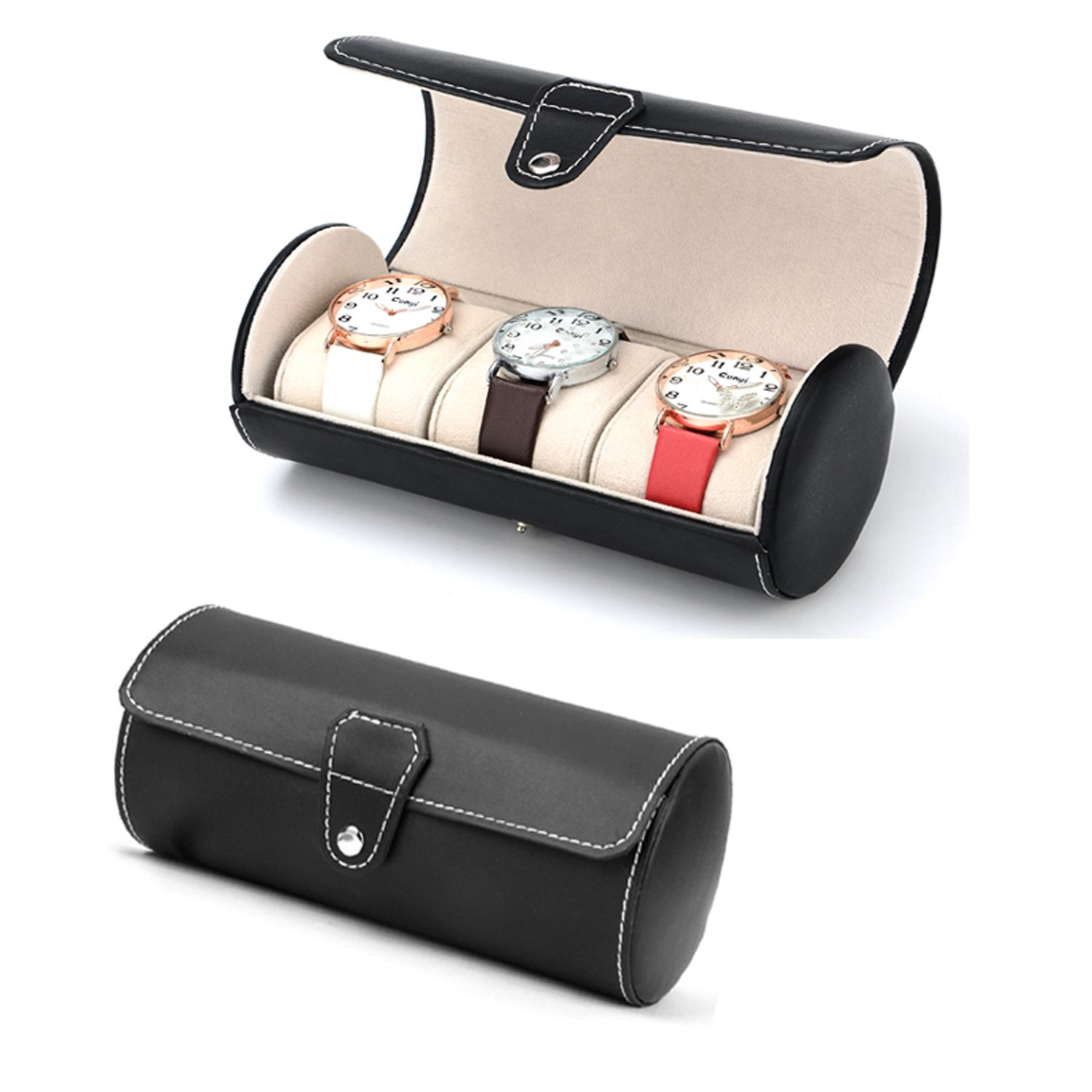 Autoark Leather Roll Traveler's Watch Storage Organizer for 3 Watch and/or Bracelets (Black),AW-006