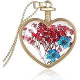 Collier avec Pendentif Forme de Coeur En Verre Médaillon de Fleur Artificielle