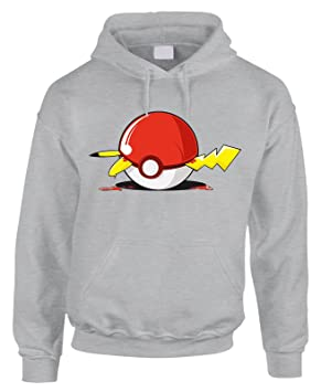 fashwork Sudadera con Capucha Pokemon Pokeball Pikachu- Cartoon Dibujos - de Algodón by, Gris: Amazon.es: Deportes y aire libre