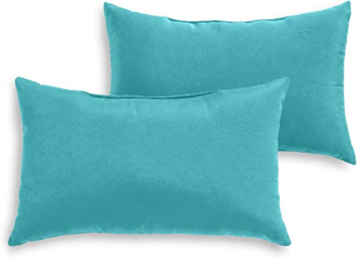 South Pine Porch AM5811S2-TEAL Solid Teal Outdoor 19 x 12-inch Rectangle Accent Pillow