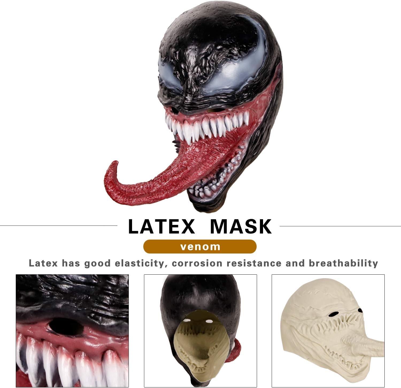 Novedad Disfraz de Halloween Disfraz Espeluznante para residentes Disfraz de Monstruo Malvado Lengua Larga supremask Disfraz de h/éroe