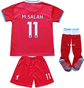 KID BOX 2020/2021 Liverpool Home Red #11 Mo Salah Football Soccer Kids Jersey Shorts Socks Set Youth Sizes