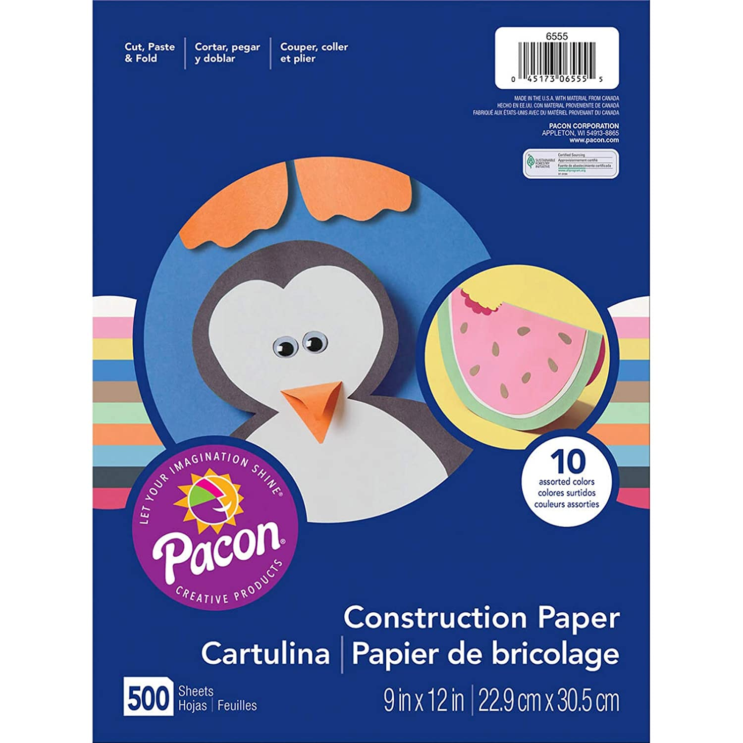 Pacon 9 x 12 Assorted 6555 Rainbow Super Value Construction Paper Ream