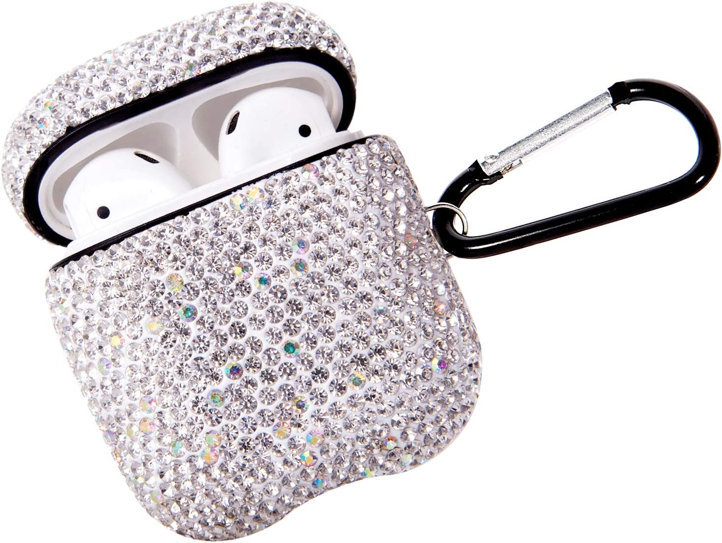 2020 Sparkly Diamond AirPods Case with Keychain, Shockproof Protective Premium Bling Rhinestone Cover Skin for AirPods Charging Case 2 & 1 (White+AB C5)