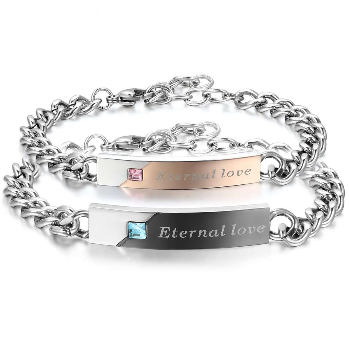 JewelryWe His Hers Stainless Steel Bangle Bracelet Eternal Love Valentine Promise Gift for Couple Christmas Cyber Monday Deal JW34PCA049