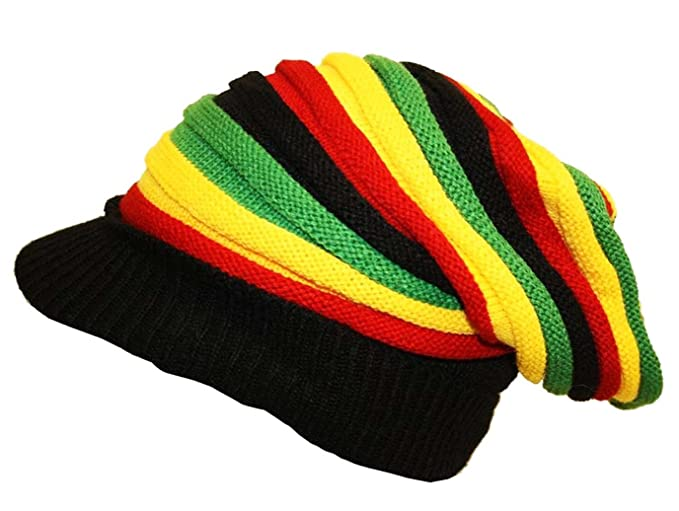 Oversized Rasta Slouch Beanie Cap Hat with Peak in Black Red Yellow ... aff93141dff