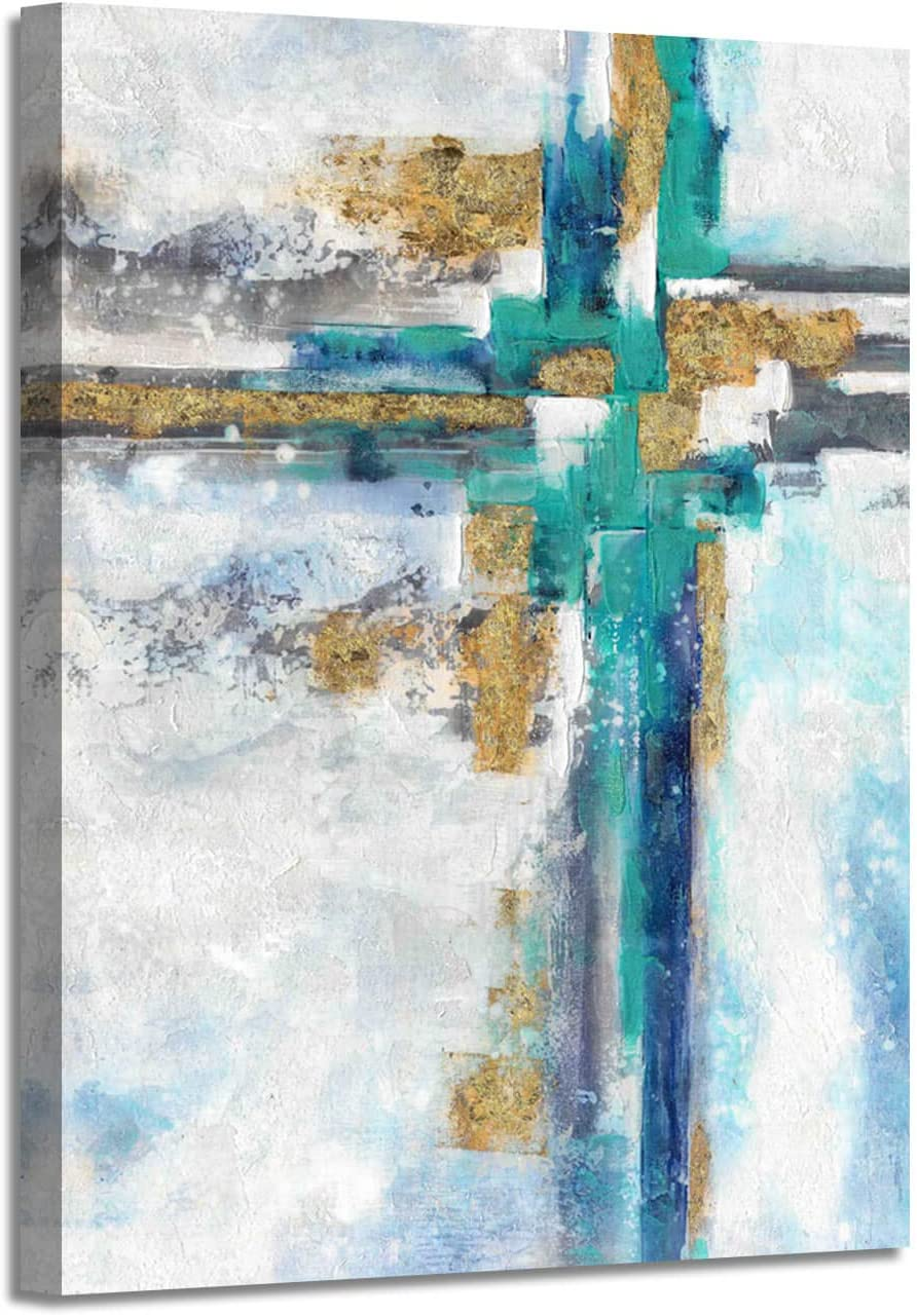"Modern Abstract Picture Wall Art: Contemporary Gold Foil Artwork Painting on Canvas for Office (24"" x 18"" x 1 Panel)"