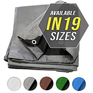 Tarp Cover Silver / Black Heavy Duty Thick Material, Waterproof, Great for Tarpaulin Canopy Tent, Boat, RV or Pool Cover!!!