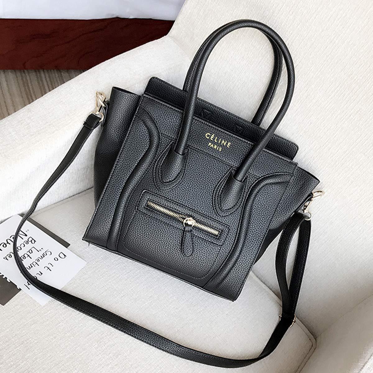 Damen Smiley Diagonale Tasche N/ähen Handtasche Schulter OL Pendler Tasche wilde Retro-Tasche Dunkelgrau, 36/×26/×14/×27cm