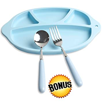 3-Piece Toddler Divided Plate Set - Includes Silicone Divider Plate FREE Kid\u0027s Spoon  sc 1 st  Amazon.com & Amazon.com : 3-Piece Toddler Divided Plate Set - Includes Silicone ...