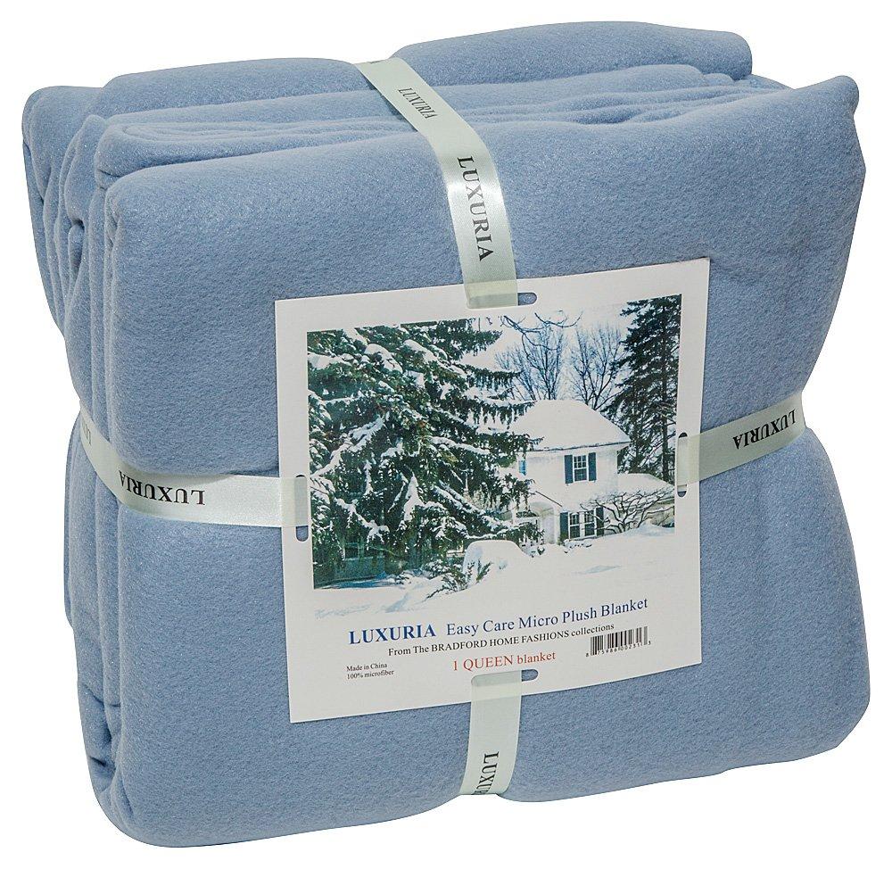 LUXURIA Micro Plush FULL Blanket, LIGHT BLUE