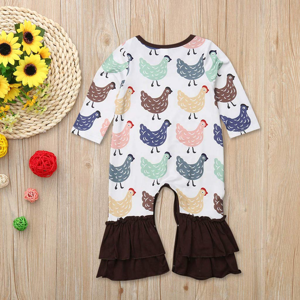Gonxifacai Toddler Baby Girls Funny Chicken Print Spring Fashion Flares Jumpsuit Romper Long Sleeve