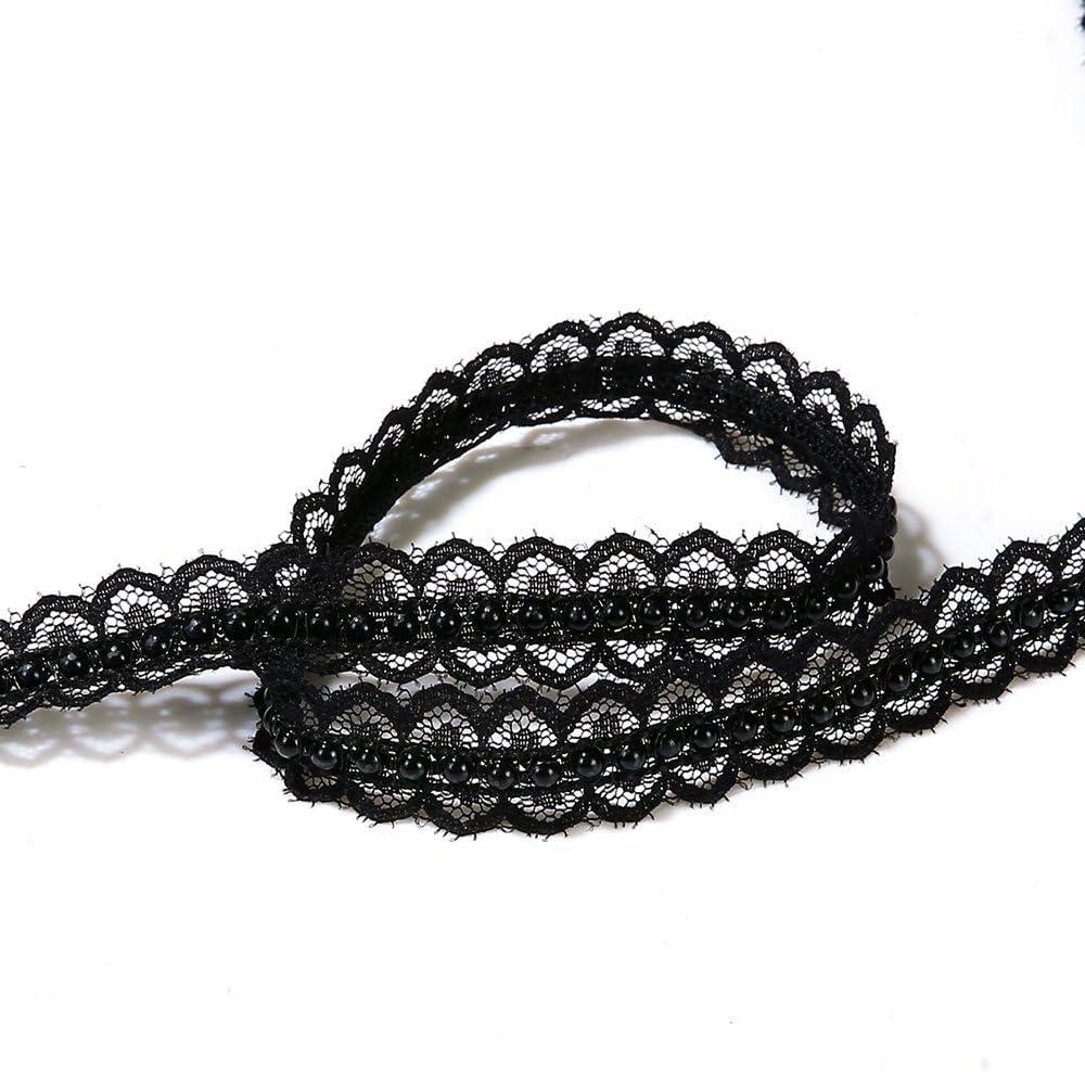 black 5 yard Sparkles Gems Vintage Style Lace fabric Ivory Pearl Ribbon Trim Sewing craft Wedding Decoration