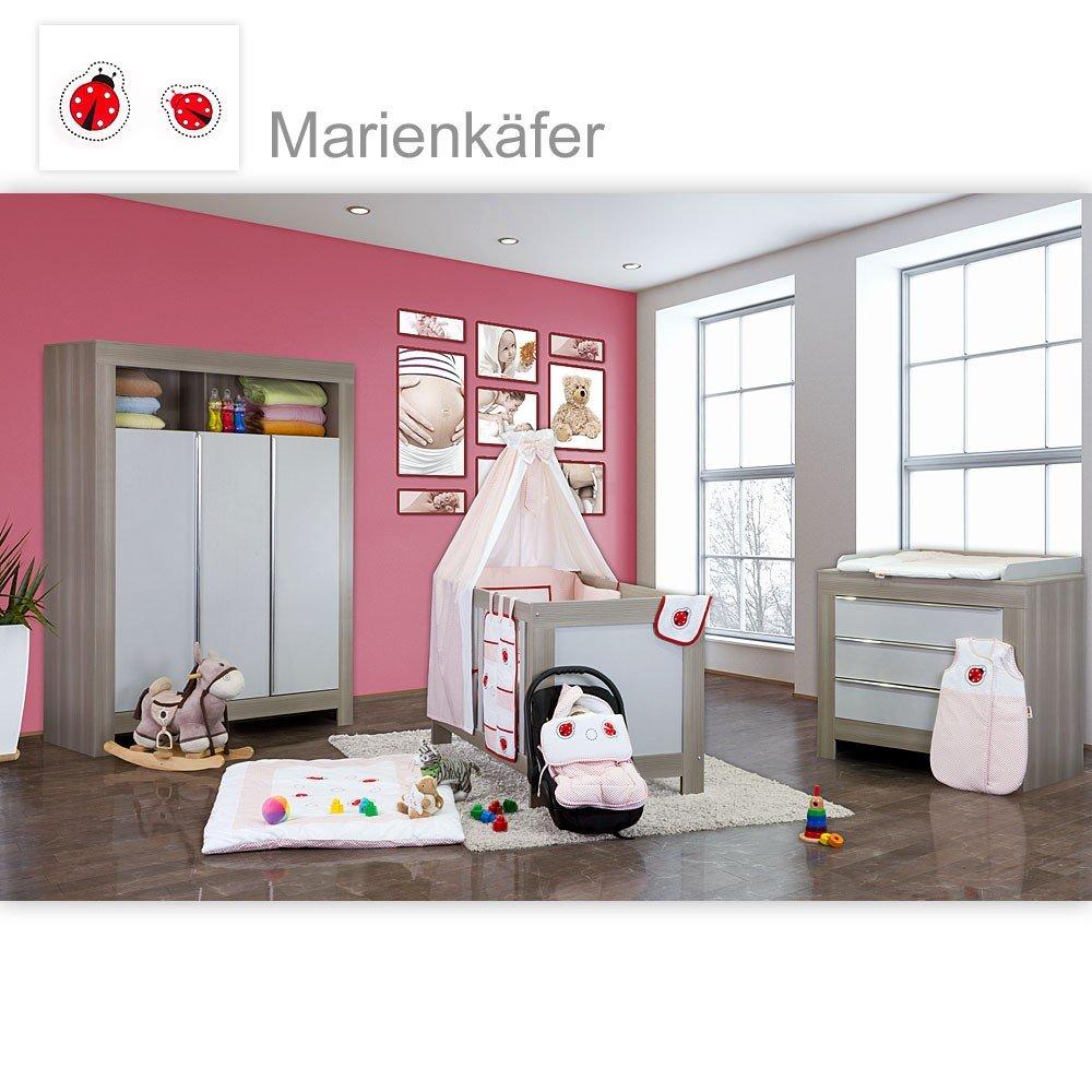 Babyzimmer Felix in akaziengrau 10 tlg. mit 3 türigem Kl. in Marienkäfer