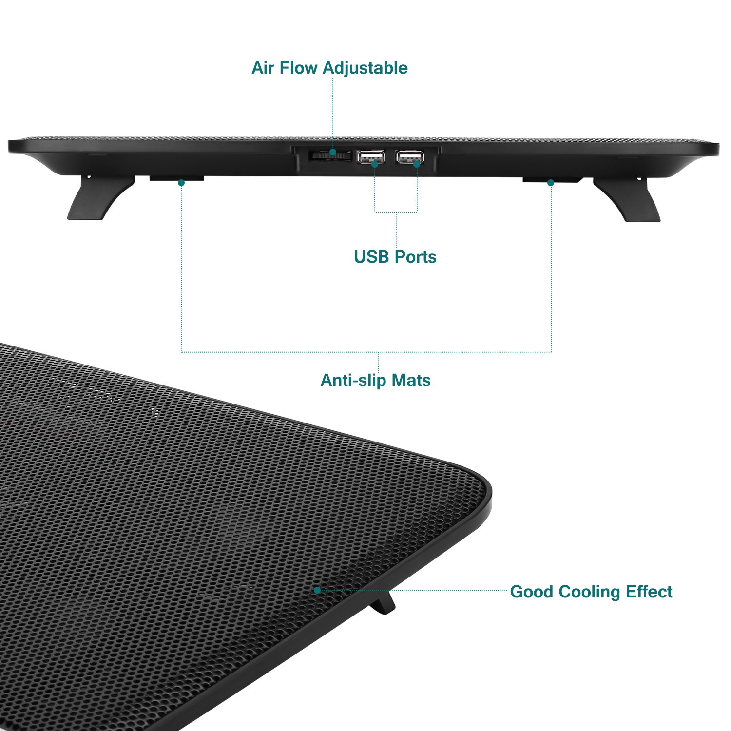 NO.17 Laptop Cooler Cooling pad, Portable Ultra-Slim Quiet Laptop Cooling Pad with 5 USB Powered Fans, Fits 10-15.6 inches by NO.17 (Image #3)