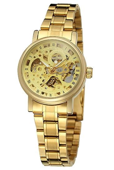 GuTe Mujeres Casual automática reloj de pulsera mecánico con oro esqueleto Esfera Analógica Pantalla: Amazon.es: Relojes