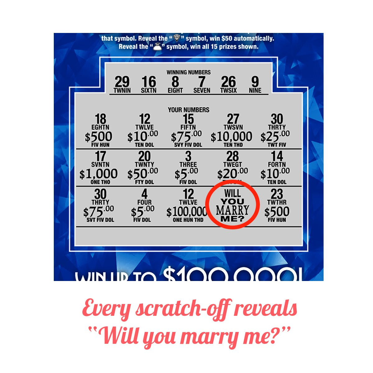 "Will You Marry Me Proposal Replica Scratch Off Cards | Set of 2 Fake  Lottery Tickets | 7 5"" x 3 7"" 
