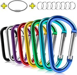 "ZEINZE Carabiner Clip 3"" Aluminum D-Ring Spring Loaded Gate Small Keychain Carabiners Clip Set for Outdoor Camping Mini Lock Hooks Spring Snap Link Key Chain Durable Improved Design 8 Pack"