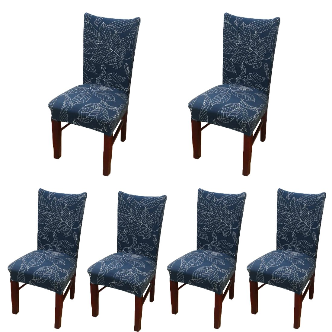 Deisy Dee Stretch Chair Cover Removable Washable for Hotel Dining Room Ceremony Chair Slipcovers Pack of 6 (QQ)