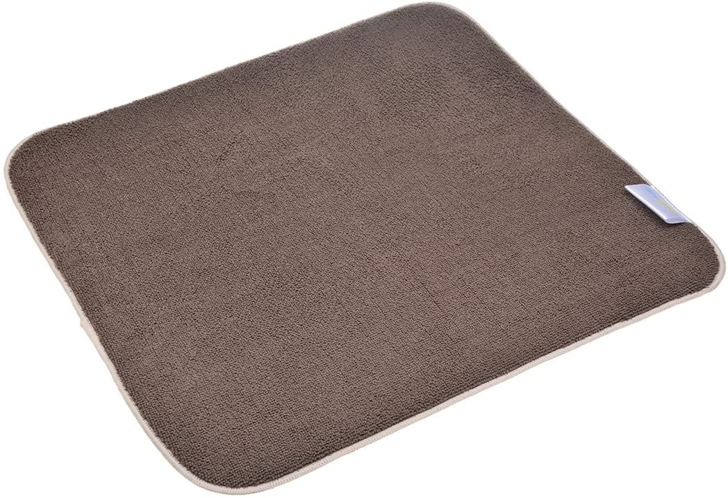 Sinland Microfiber Dish Drying Mat Super Absorbent Dish Drying Rack Pads Kitchen Counter Mat 16Inch X 18Inch Brown