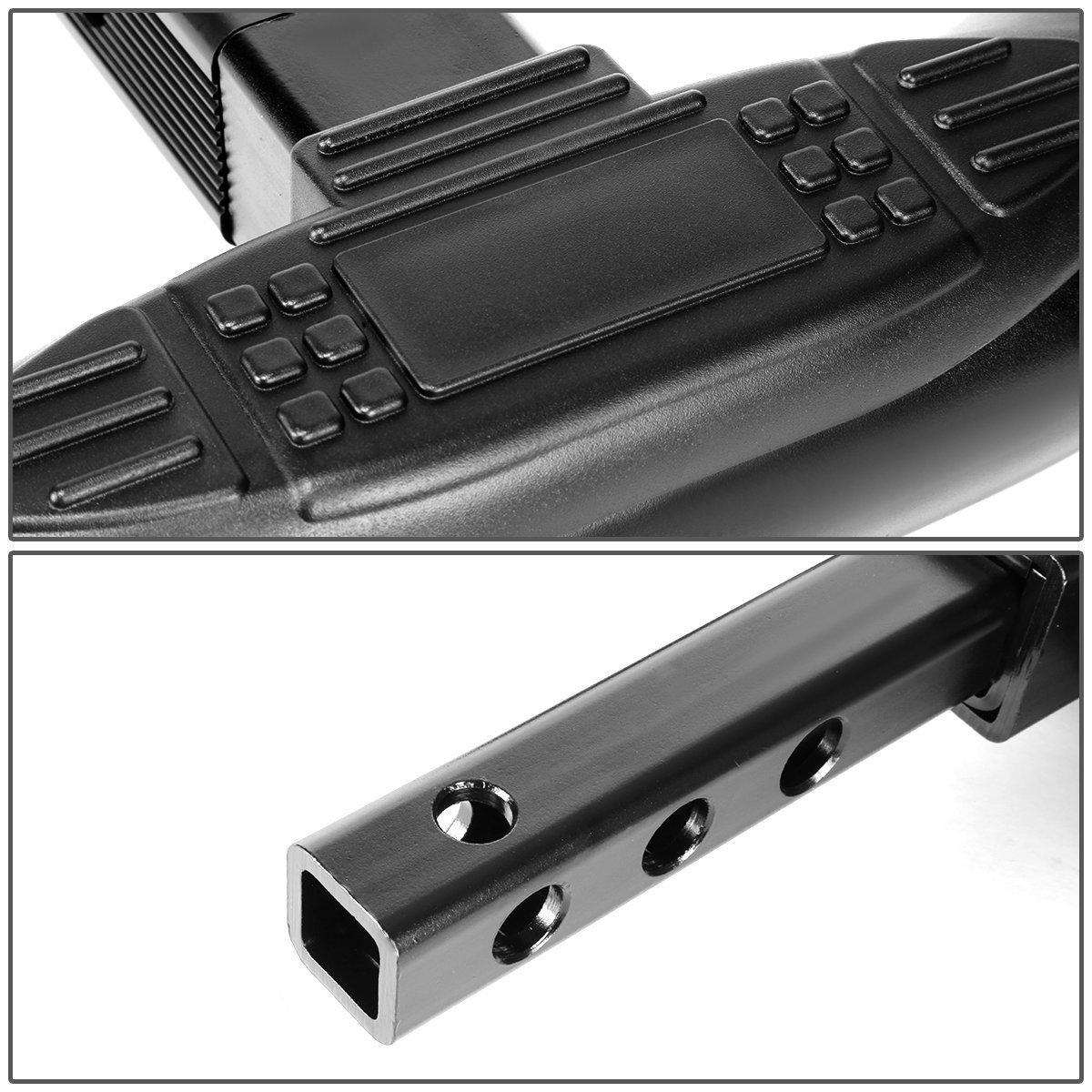 ModifyStreet 30//3 Black Stainless Steel Round Tube Hitch Step Bar for Class III 2 Receivers