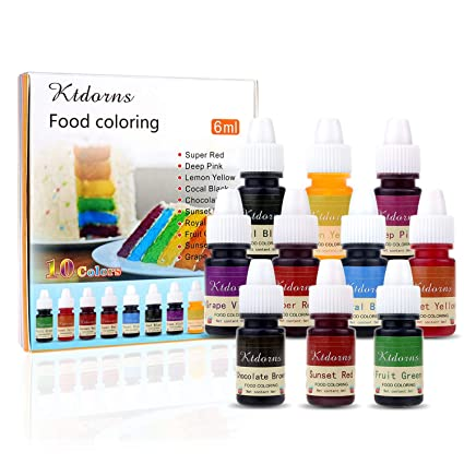 Food Coloring - 10 Color cake food coloring liquid Variety Kit for Baking,  Decorating,Fondant and Cooking, Slime Making Supplies Kit - .25 fl. oz. ...