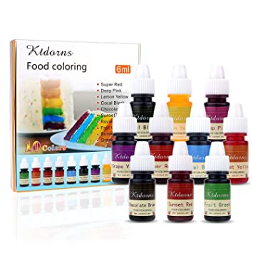 Food Coloring - 10 Color cake food coloring liquid Variety Kit for Baking,  Decorating,Fondant and Cooking,...
