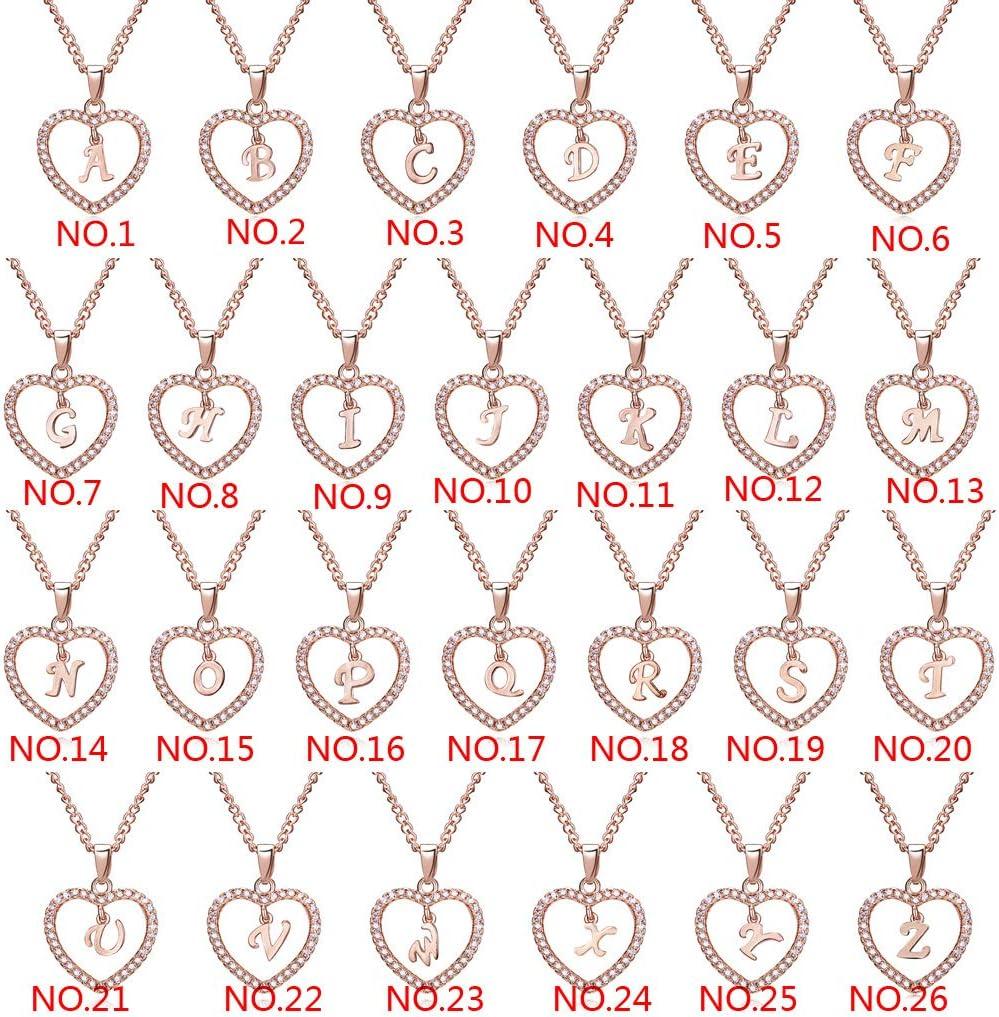 cha/îne claviculaire Collier Pendentif Strass Rose dor claviculaire cha/îne Couple Bijoux Cadeau 26 Lettres K en Forme de Coeur Couleur Or