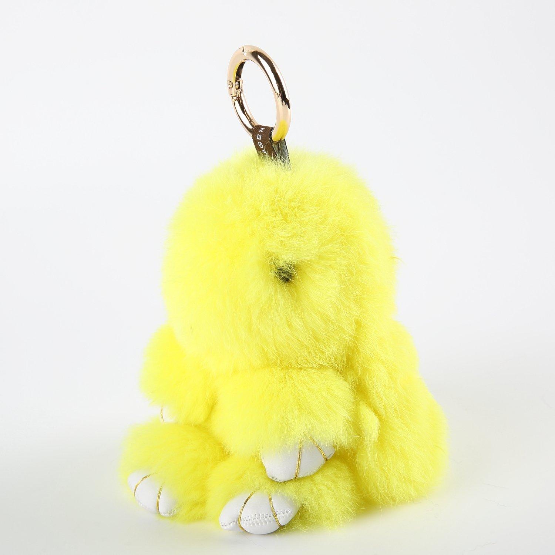 YISEVEN(イセブン) バッグチャームキーリング 可愛いウサギ型ぬいぐるみ バッグ/キーホルダー/室内/自動車などの飾り ふわふわファー付きヌイグルミ プレゼントお祝い イエロー B01M4K85P1イエロー