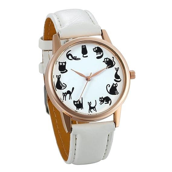 JewelryWe Relojes de Verano Reloj de Pulsera para Mujer 12 Gatos Adorables, Reloj Analogico Cuarzo Correa de Cuero Blanco Buen Regalo Original: Amazon.es: ...