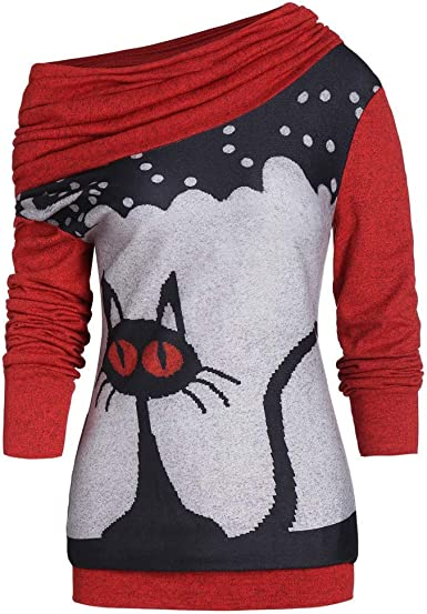 Dunacifa Women Scarf Skew Neck Tunic Tops Long Sleeve Cat Print Pullovers Sweatshirt Blouse