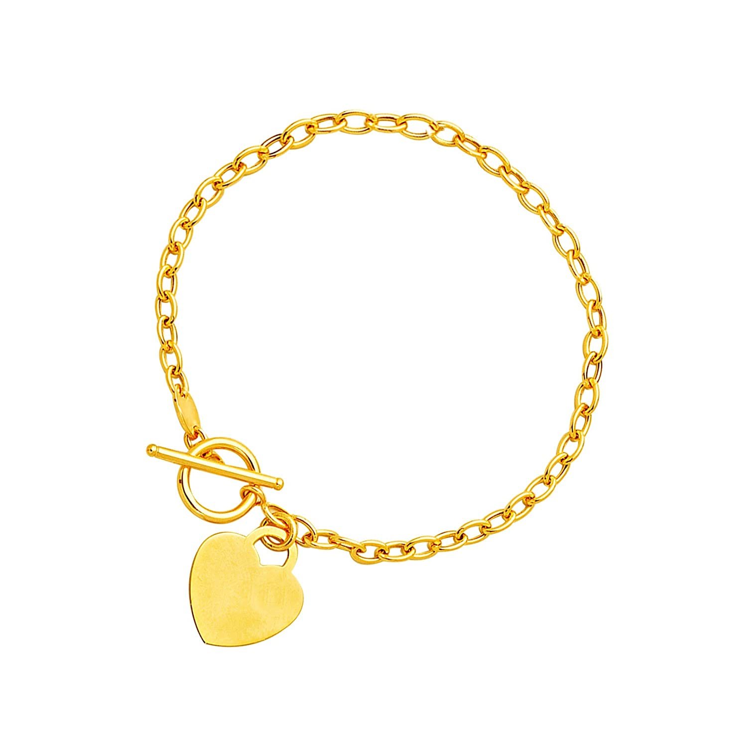 Toggle Bracelet with Heart Charm in 14 Kイエローゴールド   B07B4D631X