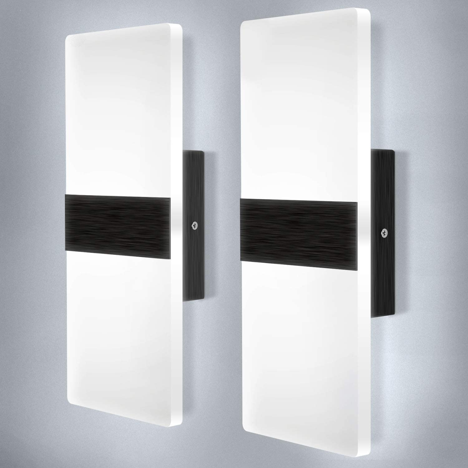 Lightess Modern Wall Sconce Set of 2 LED Hardwired Wall Lamp Black Brushed Wall Mount Sconce Lighting Acrylic Square Up Down Wall Sconces for Bedroom Hallway Living Room 12W Cool White