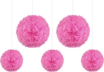 EinsSein 5er Mix Pom Poms 3X Medium (25cm) 2X Large (35cm) rosa Hochzeit Wedding Pompons Dekokugel