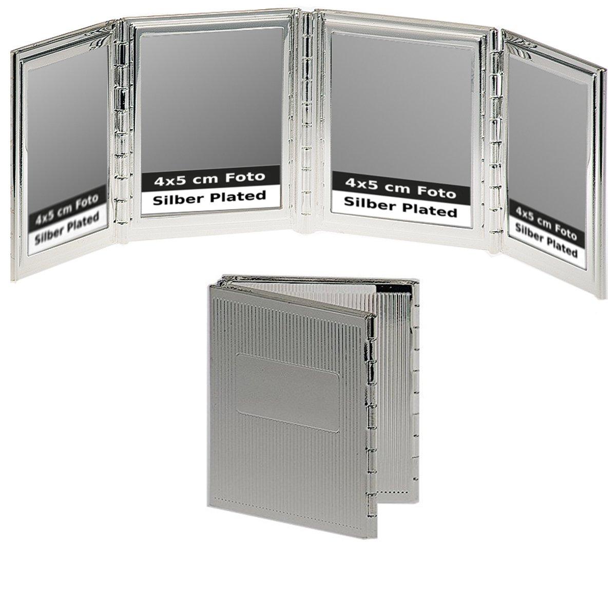 Reise-Klapprahmen Hamburg für 4 Bilder 4x5 cm Silber Plated ...