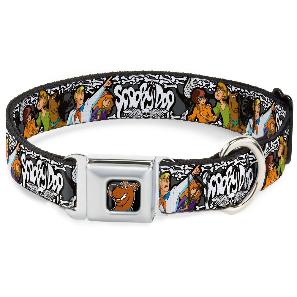 Buckle-Down Seatbelt Buckle Dog Collar Scooby DOO Group Pose Bones 1  Wide Fits 11-17  Neck Medium