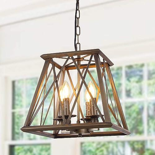 Eumyviv C0026 4-Lights Trapezoid Metal Pendant Lamp Bronze Finished Retro Rustic Vintage Industrial Edison Hanging Light Fixture Ceiling Lamp Chandeliers