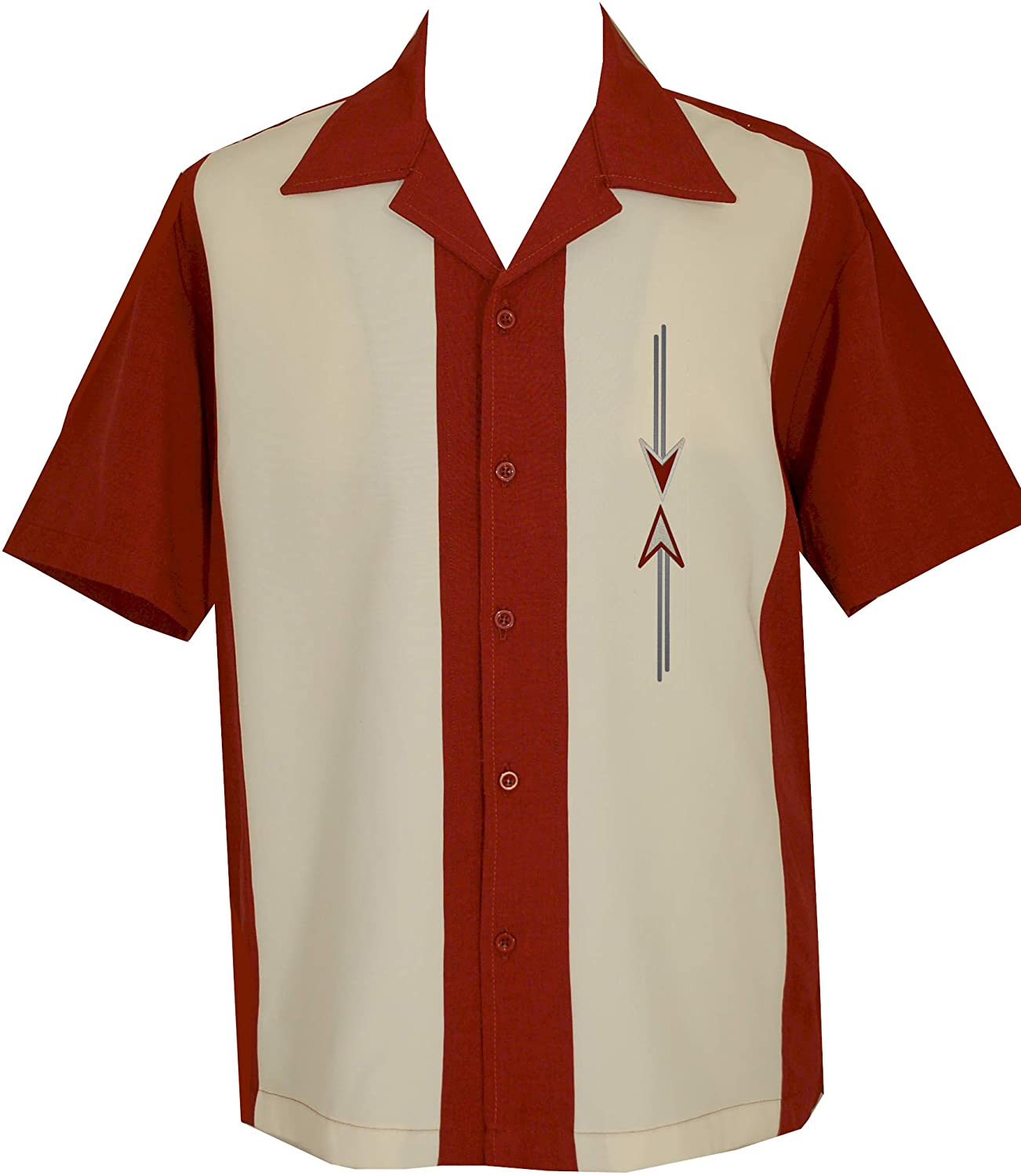 1950s Men's Shirt Styles – Dress Shirts to Casual Pullovers Lucky Paradise Mens Camp Shirt Vintage Cuban Style Bowling Shirt ~ Schrader $64.95 AT vintagedancer.com