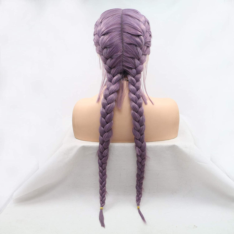 Hair Cap Double Braids Wigs Ash Purple Hair for Women Synthetic Heat Resistant Long Braids Wig Glueless Half Hand Tied 71XUUhVANRL