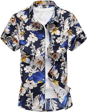 Yacun Hombres Camisas Hawaianas Causal en Playa Verano Manga Corta ...