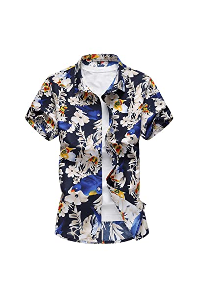 Yacun Hombres Camisas Hawaianas Cotton Flower Floral Casual Tee Tops 9lin9A