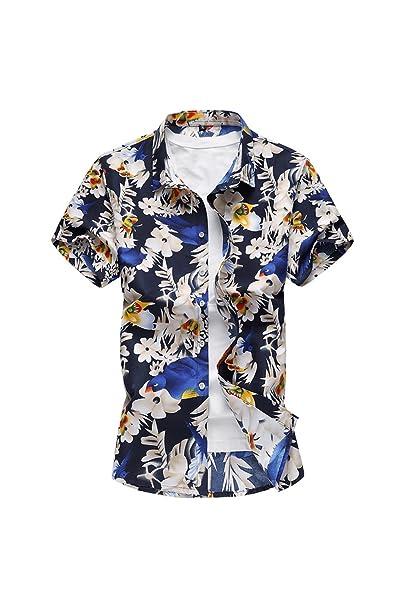 save off 163b4 6b398 YACUN Uomini Sono Camicie Hawaiane Floreale Pulsante Casuale ...