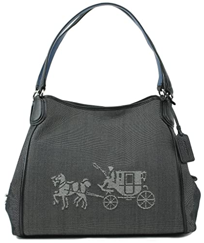 6b8b21906f Amazon.com  COACH 35344 Embossed Horse and Carriage Edie Shoulder Bag In  Canvas in Black  Shoes