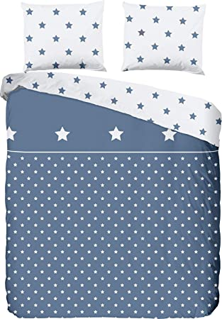 Good Morning Bettwäsche Flanell Blau Weiß Größe 135x200 Cm 80x80