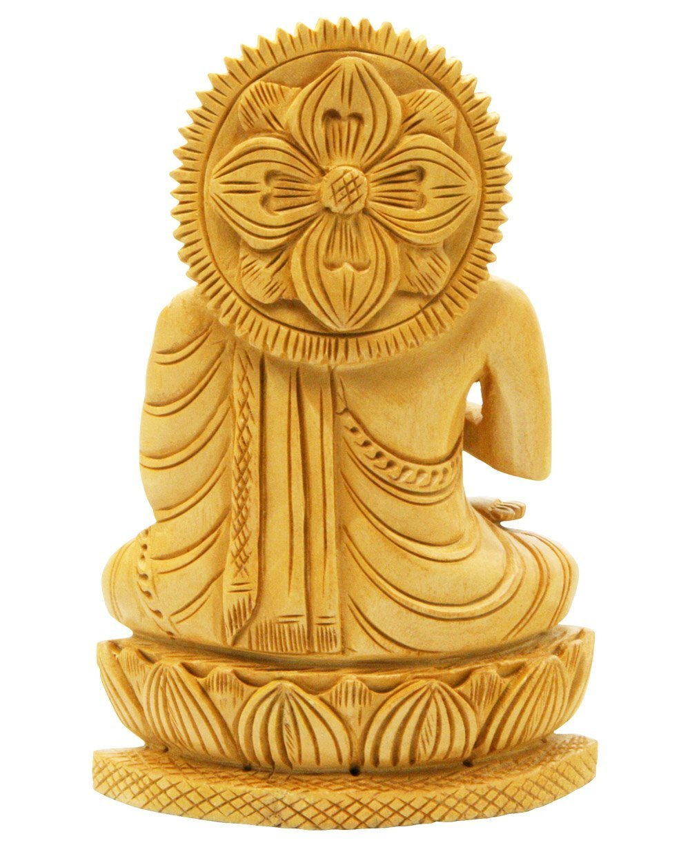 Amazon.com: Buddha Groove Hand Carved Wood Sitting Buddha Statue ...