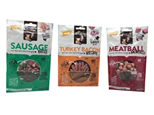 Rachael Ray Nutrish Dog Treats Variety Pack Bundle of 3 Flavors, 3 Ounces Each (Sausage Bites, Turkey Bacon Recipe, Meatball Morsels)