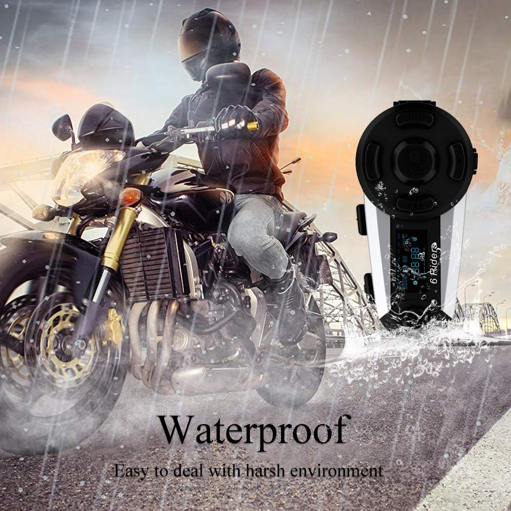 2 Packs ESoku T20S Motorcycle Bluetooth Intercom 1200m 6 Riders Full Duplex Bluetooth Helmet Headsets Waterproof Wireless Interphone Support FM Radio Handsfree and LCD Screen